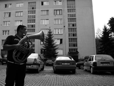A Roma trumpet player in Sarajevo